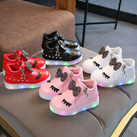 Kid Baby Infant Girl Crystal Bow LED Luminous Boot Sport Shoes Sneakers 1-6Y