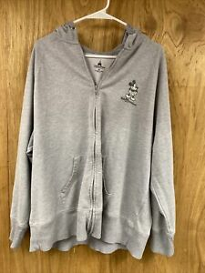 Official Disney Parks Gray Mickey Mouse Zip Up Hoodie Sweatshirt Unisex Size 2X