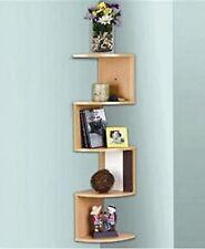 Stackable 5 Tier Oak Zig Zag Corner Wall Shelves - Natural Finish - L6760 Corner
