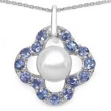Collier/Halskette mit Tansanit/Perle-Anhänger-15 Edelsteine-3,04 Karat