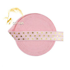 "5 Yard 5/8"" Gold Polka Dot Foil Print Lt Pink Fold Over Elastic Band Sewing Trim"