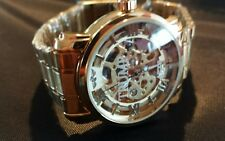 Donald J Trump Custom Etched Crystal *TRUMP* AUTOMATIC Men's SKELETON Watch NEW