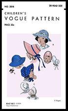 BABY BONNET CUTE GIRL KIDS Hats Fabric Sew Pattern 20 Colonial Vogue 2018