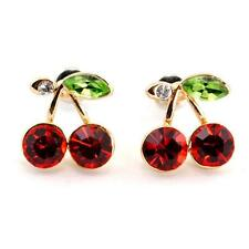 SPARKLING CHERRY EARRINGS Crystal Post Stud Pair HIGH QUALITY Cherries Red Bling