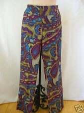 ETCETERA PURPLE TEAL RETRO COTTON PRINT JEANS PANTS SLACKS JASMINE sz 2 NEW $185