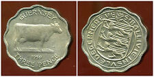 ROYAUME UNI (  guernesey )  3  three  pence 1959   ANM  ( bis )