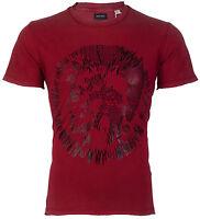 DIESEL Mens T-Shirt MIREY Mohawk RED BLACK Casual Designer $98 Jeans NWT