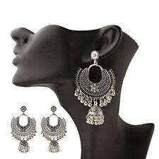 Fashion Jewelry Indian Oxidized Colored Bead Jhumka Silver Bohemia Earrings Drop