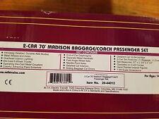 MTH Premier O Pennsylvania 2 Car 70' Madison Baggage Coach Car Set 20-44012