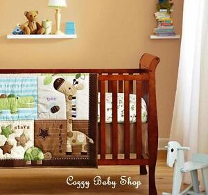 Baby Bedding Set Cot Crib 6pc Nursery Set Quilt Sheet Bumpers Brown Giraffe Star