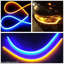 12V 60CM Flexible Tube Blue-Amber Car Headlight LED Strip DRL Daytime Run Lights