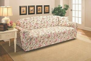 """PRICED RIGHT""   PINK FLORAL COVERS FOR SOFA COUCH LOVESEAT CHAIR RECLINER  B"