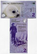 Arctic Territories 2 Dollars 2010 Novelty Fantasy Issue Polymer Banknote