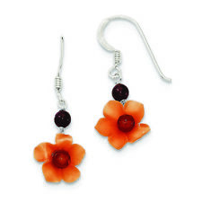 .925 Sterling Silver 35 MM Garnet Bead & Carnelian Dangle Flower Hook Earrings
