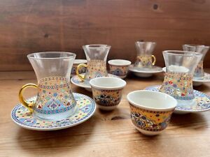 18pcs Tea Coffee Serving Set, Floral Printed 6 Tea Glasses,6 Coffee Cups,Saucers