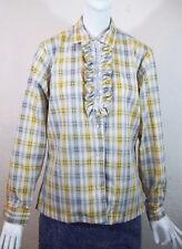 Vintage 70s Plaid Pearl Snap Front w Lace Trim Ruffle Western Prairie Shirt M/L
