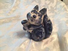 Porcelain Gzhel Squirrel Figurine Souvenir Gzhel colors handmade handpainted