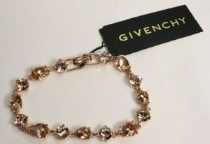 Authentic Givenchy Rose Gold Tone Rose Crystal Bracelet $58 New