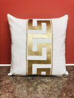 """Greek border/key Versace Border Ivory AND GOLD decorative pillow throw Cover 18"""""""