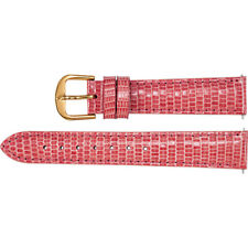 New Pink Leather Watch Band Lizard Padded 18mm Long Ladies 26522182 2-Strap