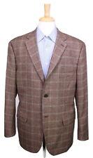 * ISAIA * Napoli Red Label Brown/Burgundy Windowpane Fleece Wool Sportcoat 42R