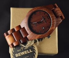 Men's Casual Wooden Watch Red Sandal Wood Bold Numbers w/ Date Round Face Bewell