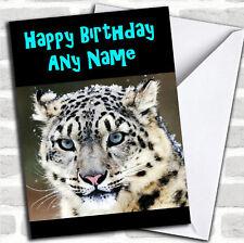 Splendido Snow Leopard Compleanno Biglietto Personalizzato