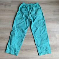 JMN Apperal Vintage Parachute Pants Aqua Drawstring Pockets Joggers Sz L USA