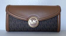 Michael Kors Femmes M Grand pochette Cuir Crédit Carte ID Portefeuille marron Or