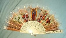 OUR LADY OF GUADALUPE FAN 10 by 18 NEW Spain Mary Juan Diego Mexico