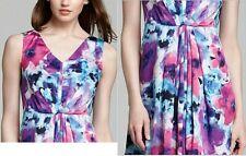 Jones NY Burst Pleat Dress 10 Sleeveless Floral pr V-neck A-line Pocket NWT$140