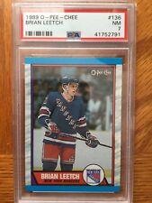 1989 Brian Leetch New York Rangers Rookie Card RC Graded PSA 7