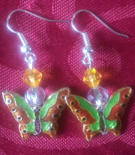 Butterfly cloisonne bead earrings, silver plated, hook, multi coloured (255)