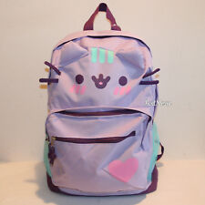 Pusheen Facebook Cat Lilac Purple Heart Canvas Backpack Camp School Book Bag