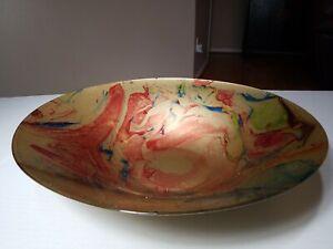 "Large Centerpiece Console Art Glass Metallic 15 6/8"" Diameter Bowl. Gold tone"