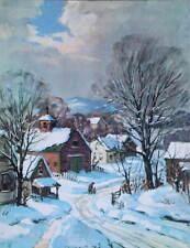 1950s Print Winter scene village by Jacob Greenleaf