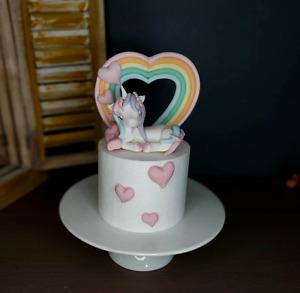 Pastel unicorn  Edible Fondant Cake Topper Birthday party decoration custom