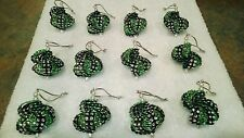 12 HOMEMADE CHRISTMAS ORNAMENTS MADE WITH BLING GREEN AND BLACK
