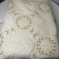 bedspread coverlet cream green pink floral design king quilt 100% cotton