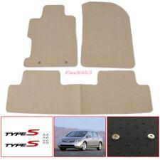 Fit 06-11 Honda Civic Floor Mats Beige Carpets Nylon Srew On Type S Metal Emblem