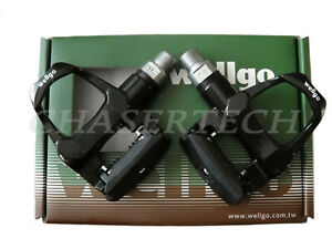 "New Wellgo R096B Road Bike Magnesium Pedals Cr-Mo Axle 9/16"" Black"