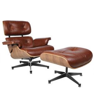 Premium Aniline Leder eams Lounge Sessel Chair & Fußhocker Vintage Brown Walnut