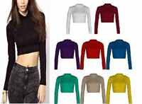 A52 WOMENS TURTLE NECK CROP LADIES LONG SLEEVE PLAIN POLO SHORT STRETCH TOP 8-14