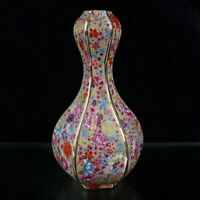 "9.4"" Chinese Porcelain Draw Gold Colour Enamels Ten Thousand Flower Garlic Vase"
