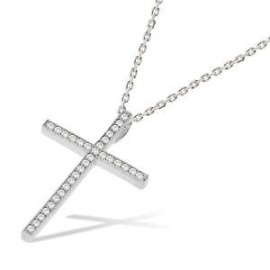 J JAZ Tamar Sterling Silver Cubic Zirconia Cross Chain Pendant Necklace