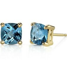 14K Yellow Gold Cushion Cut 2.25 Carats Swiss Blue Topaz Stud Earrings