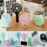 Mini Desk Fan USB Rechargeable Portable Hand-held Cooler Cooling Air Condit D5X7