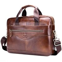 BULLCAPTAIN Genuine Leather Men'S Briefcase Vintage Business Computer Bag F A7W4