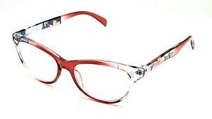Betsey Johnson Red Floral Cat Eye Reading Eyeglasses Frame 2.50 (BJ3)
