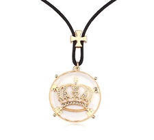 18K Rose GOLD GP Made With SWAROVSKI CRYSTAL Crown NECKLACE Gold Clear